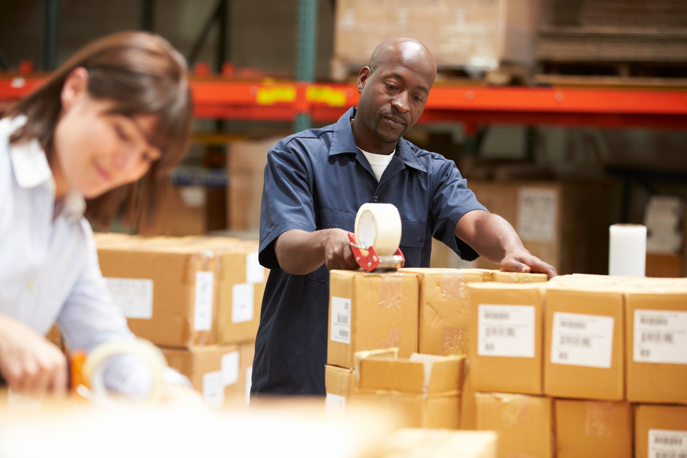 Packing of orders in a Fuilfilment Warehouse.